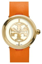 Women's Tory Burch 'Reva' Logo Dial Leather Strap Watch 28Mm Orange Gold