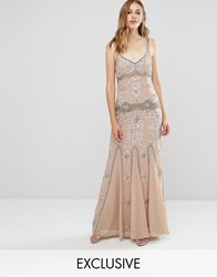 Maya Delicate Embellished Maxi Dress With Fishtail Caramel Brown