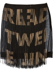 Moschino Vintage Fringed Text Skirt Black