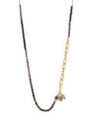 Alexis Bittar Elements Punk Semi Precious Multi Stone Colorblock Beaded Strand Necklace Gold Multi