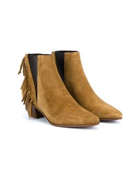 Saint Laurent Wyatt Fringed Suede Ankle Boots Tan