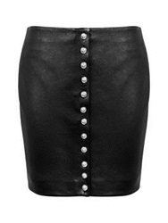 Versus By Versace Versus Versace Leather Button Up Skirt Black