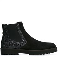 Hogan Glitter Detail Ankle Boots Black