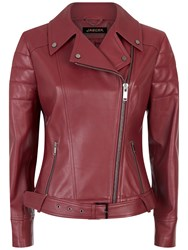 Jaeger Leather Biker Jacket Winter Berry