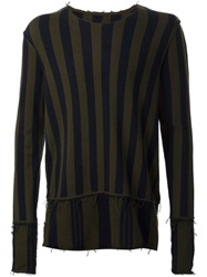 Patchwork Striped Sweater Green