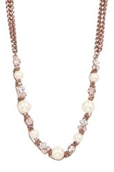 Givenchy Faux Pearl Chainlink Long Necklace Metallic