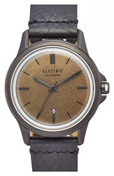 Electric Eyewear 'Carroway' Leather Strap Watch 40Mm Black Brass