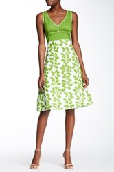 Chaudry Sleeveless Print Dress Green