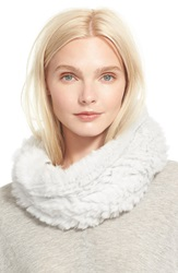 Vince Genuine Rabbit Fur Infinity Scarf Heather Cloud