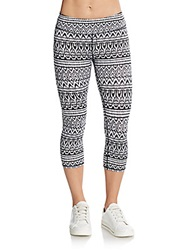 Marc New York By Andrew Marc Performance Ikat Print Cropped Leggings White Multi