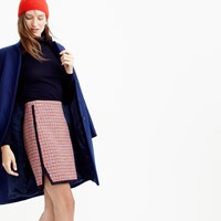 J.Crew Double Notch Mini Skirt In Red Houndstooth Plaid