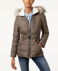 Laundry By Design Faux Fur Trim Belted Puffer Coat Smokey Grey