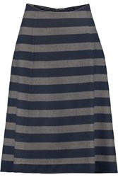 Agnona Striped Cashmere Skirt Blue