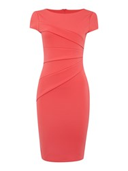 Jessica Wright Cap Sleeve Asymmetric Detail Bodycon Dress Pink