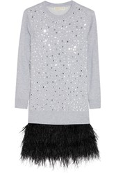 Michael Michael Kors Cotton Blend Jersey And Feather Sweater Dress