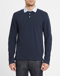 Hackett Navy Ls Polo Shirt With Patterned Elbow Blue