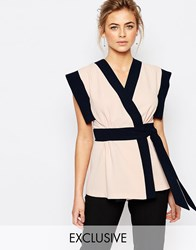 Closet Wrap Front Blouse In Color Block Nude Navy Multi