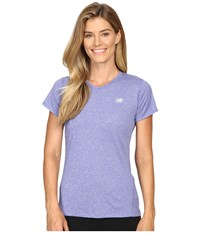 New Balance Heathered Short Sleeve Tee Spectral Heather Women's Short Sleeve Pullover Purple