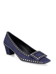 Roger Vivier Belle Studded Denim Mid Heel Pumps Blue