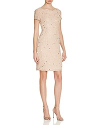 Adrianna Papell Scoop Back Beaded Dress Taupe Pink