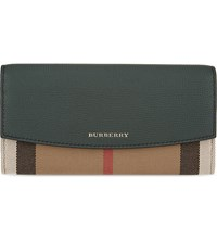 Burberry House Check Continental Leather Wallet Bottle Green