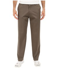 Dockers Signature Khaki D2 Straight Fit Flat Front Dark Pebble Stretch Men's Casual Pants Brown
