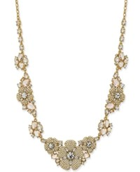 Kate Spade New York Gold Tone Imitation Pearl And Crystal Flower Statement Necklace
