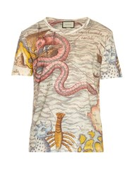 Gucci Sea Map Print Linen T Shirt Multi