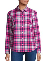 Vineyard Vines Performance Plaid Shirt Bright Pink Multi