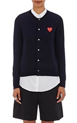 Comme Des Garcons Play Women's Heart Patch Wool Cardigan Navy