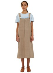 Story Mfg. Folly Dungarees Dress Beige