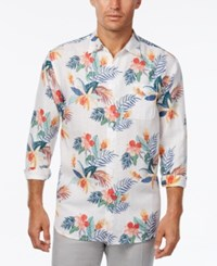 Tommy Bahama Men's Gardenia Blooms Floral Print Linen Long Sleeve Shirt Bright White