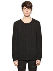 Blk Dnm Wool Blend Seed Stitch Sweater