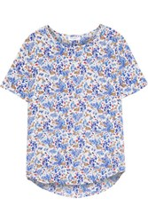 Equipment Riley Printed Washed Silk Top Blue
