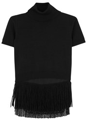 No.21 Black Fringed Roll Neck Wool Top