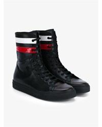 Raf Simons Leather Hi Top Trainers Black Multi Red White Multi Coloured