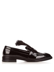 Christopher Kane Feather Embellished Patent Leather Loafers Black