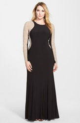 Xscape Evenings Embellished Jersey Gown Plus Size Black Nude Silver