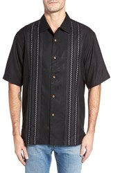 Tommy Bahama Men's Big And Tall Winning Catch Silk Camp Shirt Black