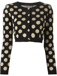 Boutique Moschino Cropped Polka Dot Cardigan Black