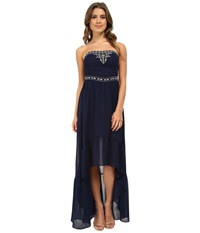 Gabriella Rocha Krystal Strapless Hi Low Maxi Dress Navy Women's Dress