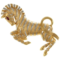 Eclectica Vintage 1960S Trifari Ark Series Gold Plated Zebra Brooch