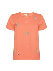 Yumi Embellished Cut Out Shift Top Coral