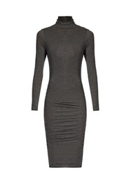 Velvet By Graham And Spencer Lordes Ruched Side High Neck Dress Charcoal