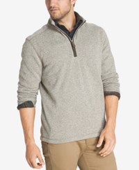 G.H. Bass And Co. Men's Zip Neck Fleece Pullover Silver Birch Heather