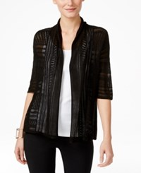 Ny Collection Open Front Elbow Sleeve Cardigan Black