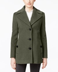 Calvin Klein Petite Wool Cashmere Single Breasted Peacoat Light Gray