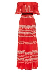 Self Portrait Off The Shoulder Maxi Dress Red Multi
