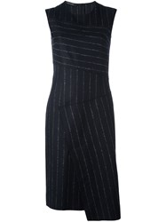 Cedric Charlier Pinstripe Asymmetric Dress Black
