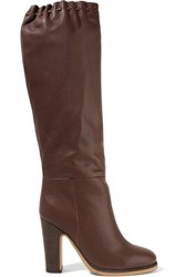 See By Chloe Scalloped Textured Leather Knee Boots Chocolate